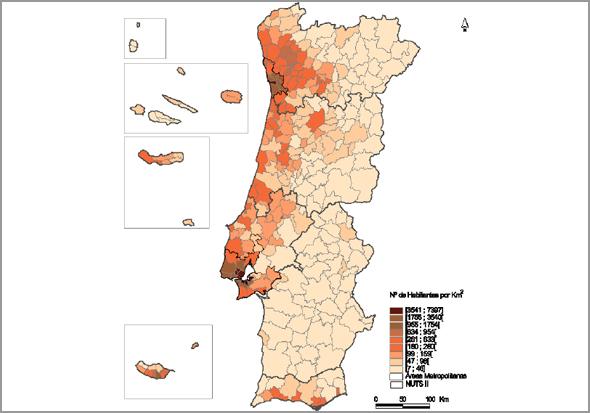 Densidade Populacional em Portugal Continental e nas Ilhas