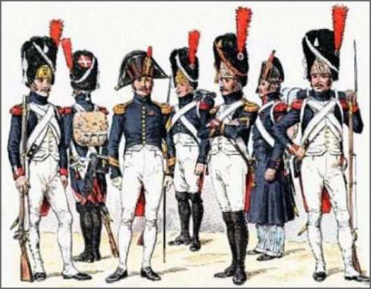 Soldados franceses do exército napoleónico