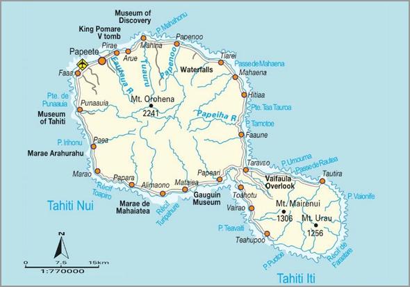 Mapa do Taithi na Polinésia  Francesa
