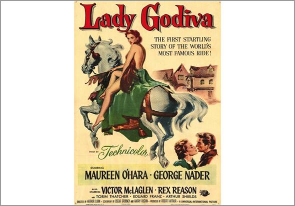 Lady Godiva interpretada por Maureen O'Hara