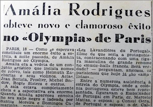 Amália Rodrigues no Olympia de Paris