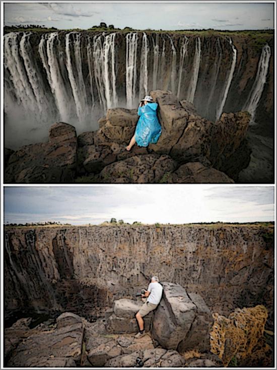 Cataratas de Vitória reduzidas a um fio de água