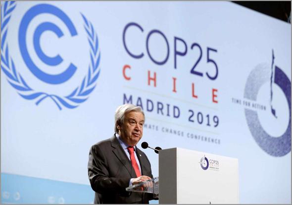 Secretário-Geral da ONU, António Guterres, discursa na Conferência sobre o Clima em Madrid