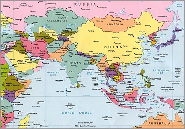 Mapa da Ásia e Austrália