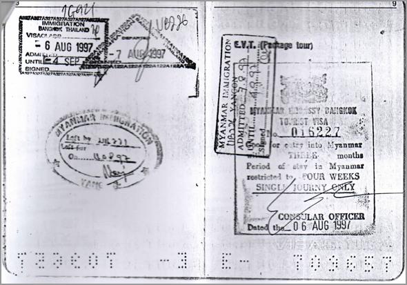 Visa e carimbos de Myanmar