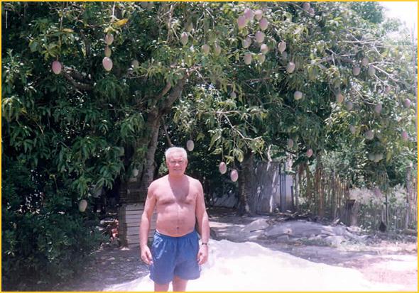 Franklim junto da árvore dos mangos