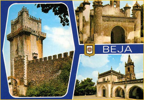 Postal com monumentos de Beja