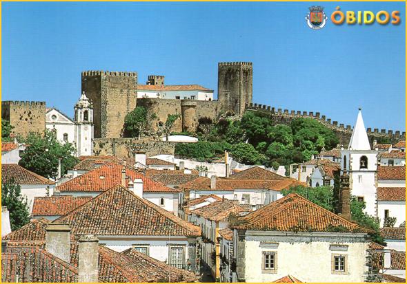 Postal com o Castelo de Óbidos