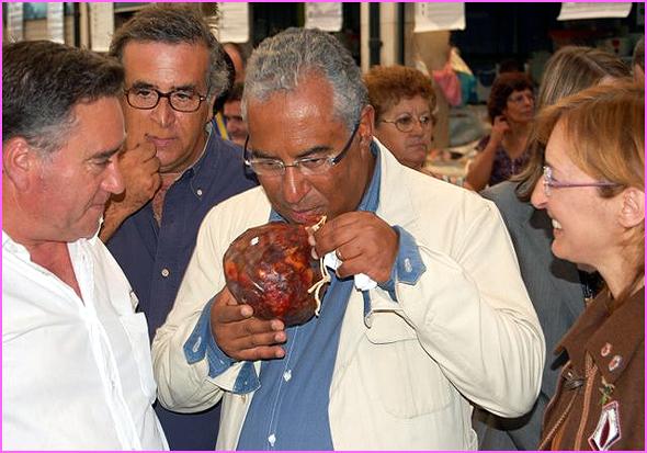 António Robalo apresenta o bucho raiano a António Costa no Mercado da Ribeira em Lisboa (Foto: José Carlos Lages)
