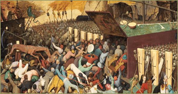 """Pormenor de """"O Triunfo da Morte"""", de Pieter Brueghel, o Velho (c. de 1562). Museu do Prado, Madrid. Epidemias e pandemias eram os mais """"produtivos"""" auxiliares da Ceifeira."""