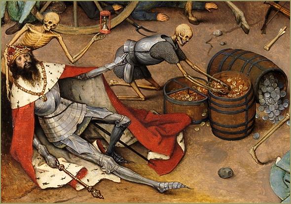 """Outro pormenor do mesmo quadro. Brueghel parece ilustrar a cantilena infantil """"À morte ninguém escapa: nem o Bispo, nem o Rei, nem o Papa..."""""""