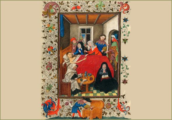 """Iluminura do Livro de Horas de Catarina de Clèves (séc. XV) mostrando um moribundo rodeado pelos familiares. Em primeiro plano um monge e uma freira fazem orações e, lá atrás, um médico, observa a urina do doente. Em baixo, um dos familiares prepara-se para """"deitar a mão"""" à herança."""