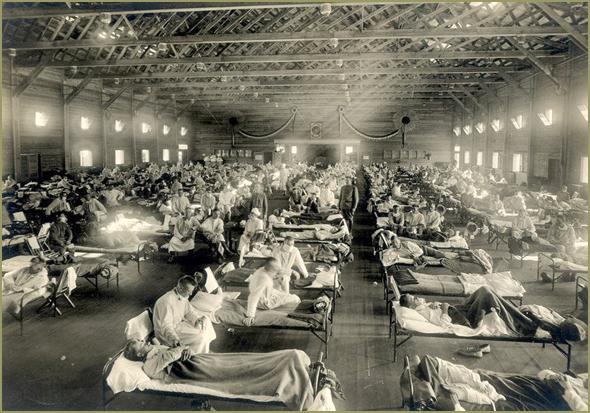Hospital de campanha, nos EUA, durante a pandemia de gripe espanhola, em 1918-19