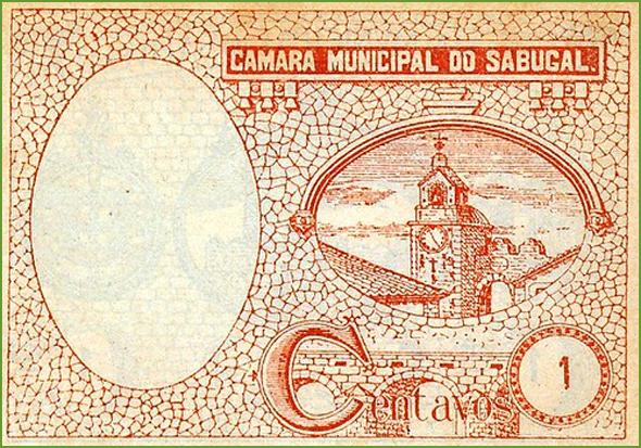 Verso de uma cédula de1 centavo emitida pela Câmara Municipal do Sabugal, em 1920