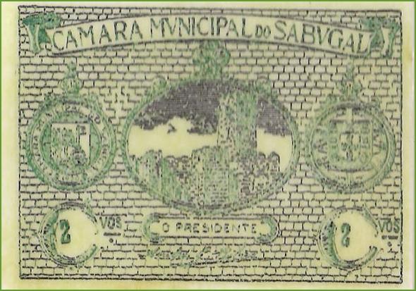 Anverso de uma cédula de2 centavos emitida pela Câmara Municipal do Sabugal, em 1920