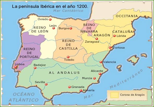 Mapa da Península Ibérica em 1200