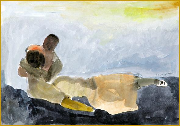 """Choramos a morte dos nossos queridos idosos nas casas de repouso! Graça Morais, Série """"Sombras do Medo"""", 2012; Aguarela e acrílico sobre papel"""