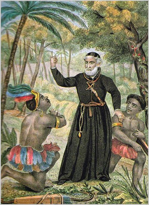 Vieira pregando aos índios. Litografia colorida de Charles Legrand (1841)
