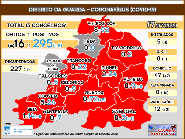 Quadro Coronavírus Distrito Guarda - 17.07.2020
