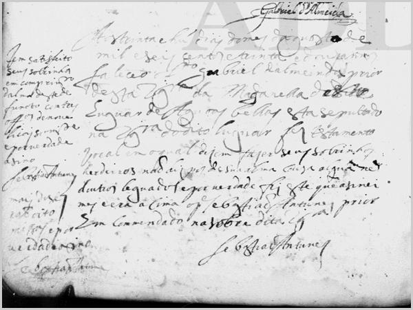 Registo de Óbito do Prior Gabriel d'Almeida em 1632