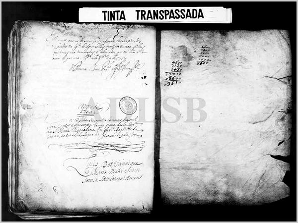 Documento original com a listagem dos padres de Águas Belas