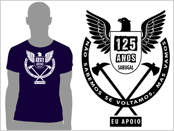 T-shirt comemorativa dos 125 anos da Associação Humanitária dos Bombeiros Voluntários do Sabugal