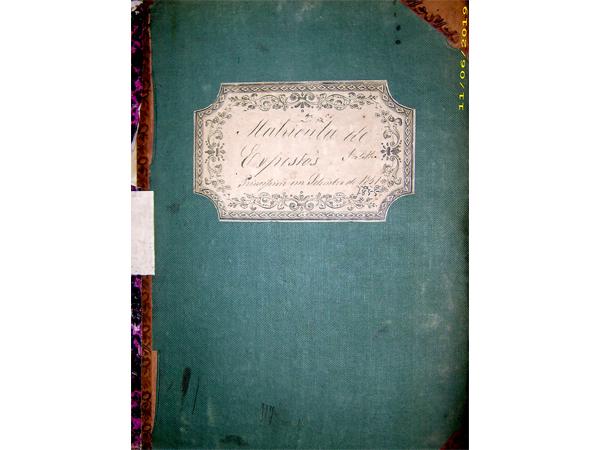 Livro de «Matriculas de Expostos de Sortelha – Entre Setembro de 1851 e 1855»