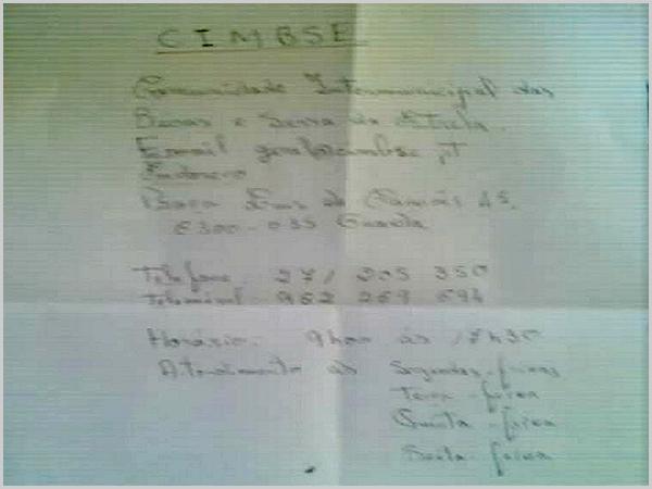 Documento para reclamar entregue na Central de Camionagem