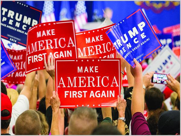 «América Primeiro!» foi o lema da campanha de Trump
