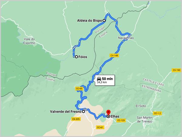 Mapa com as aldeias raianas dos Fóios, Aldeia do Bispo, Valverde de Fresno e Eljas