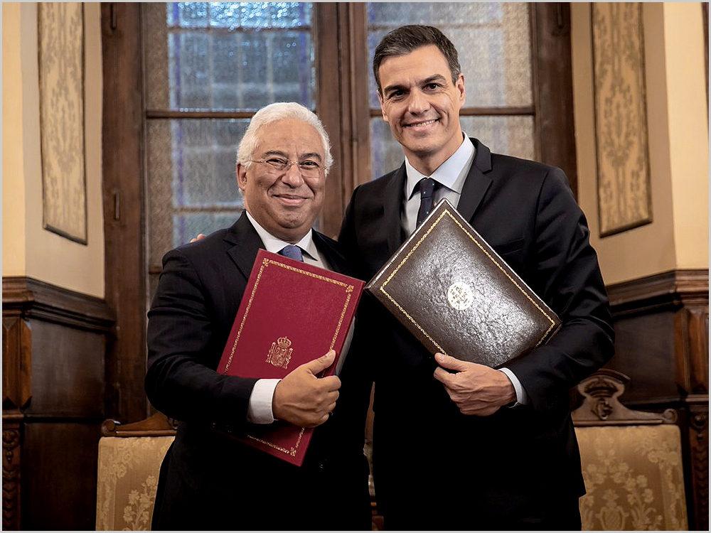 António Costa e Pedro Sánchez durante a Cimeira Ibérica na Guarda