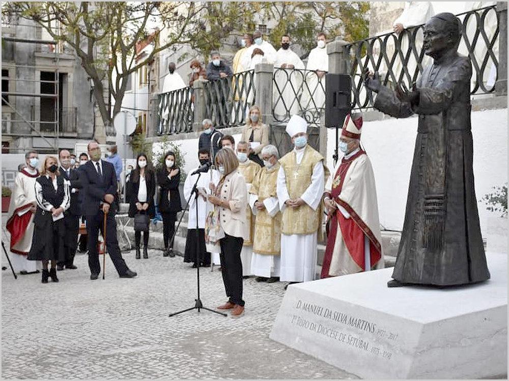 Cerimónia de inauguração da estátua de D. Manuel Martins