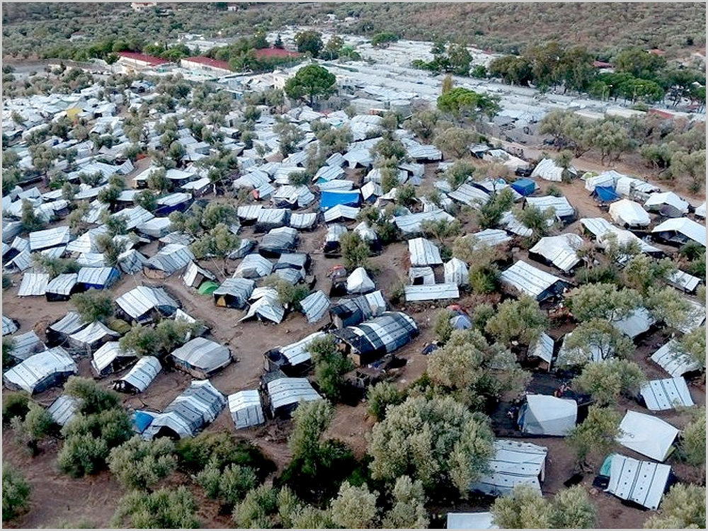 Campo de refugiados de Moria, o maior da Grécia