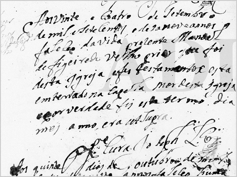 Assento de óbito de Manuel Figueiredo Velho, em 24 de setembro de 1719 - tendo sido sepultado na capela-mor, numa cerimónia conduzida pelo padre Joseph Lourenço (9) - capeiaarraiana.pt
