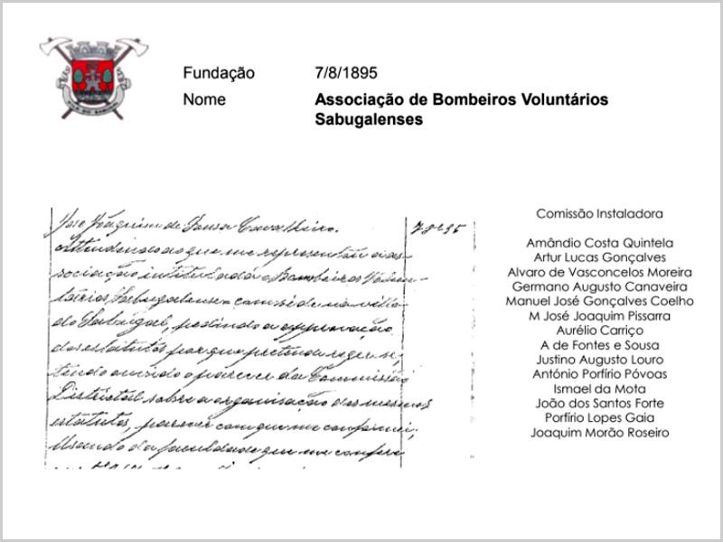 Criação da Associaçãos dos Bombeiros Voluntários do Sabugal em 1895