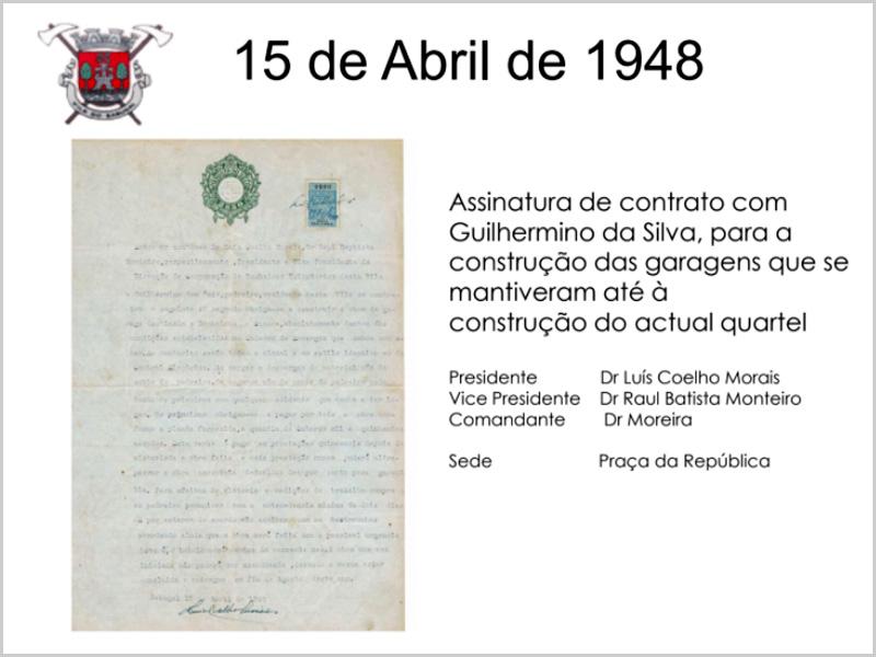 Assinatura do contrato de construção das garagens do antigo quartel dos Bombeiros Voluntários do Sabugal em1948