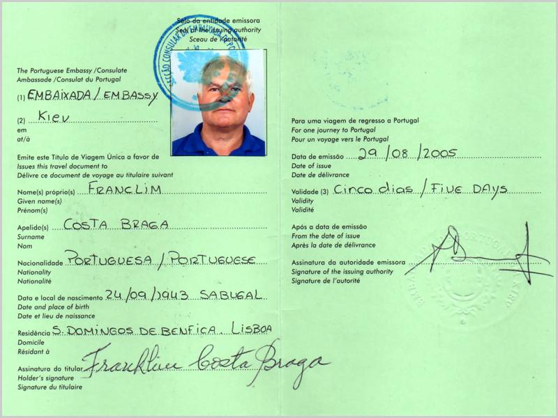 O passaporte dado na Ucrânia