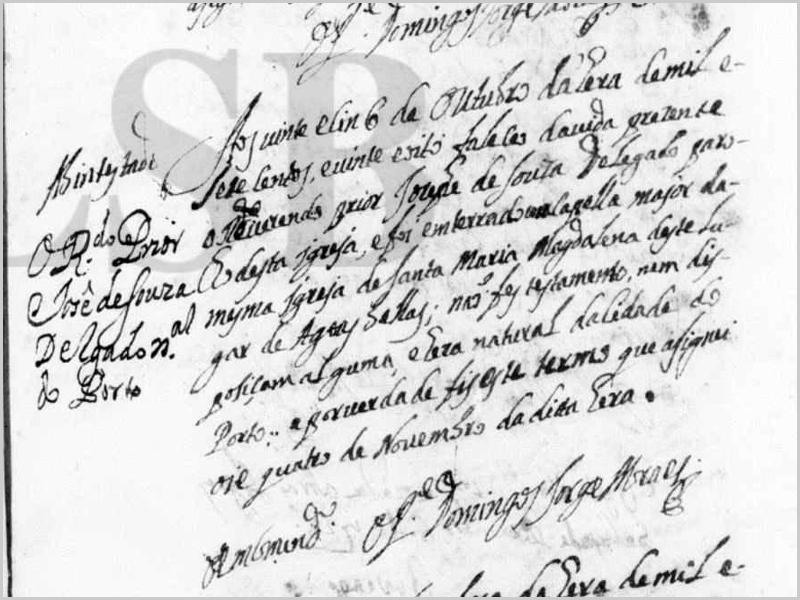 Óbito do Prior Joseph de Sousa Delgado assinado pelo encomendado Domingos Jorge Moraes