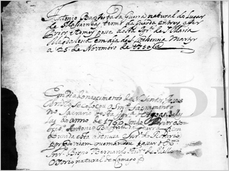 António Batista da Guerra, natural de Maçainhas, tomou posse em 25 de novembro de 1750 como prior da Igreja de Santa Maria Madalena, de Águas Belas