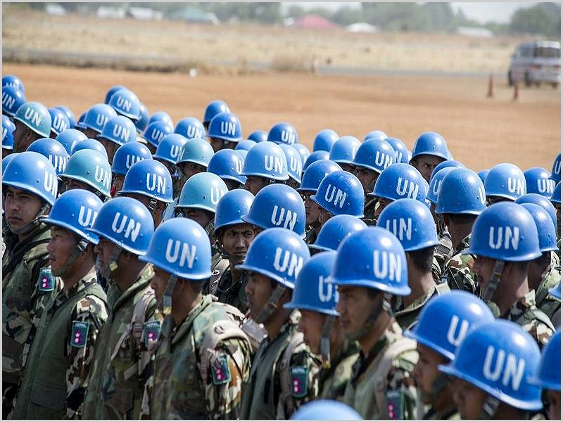 Capacetes Azuis, força de manutenção da paz, da ONU