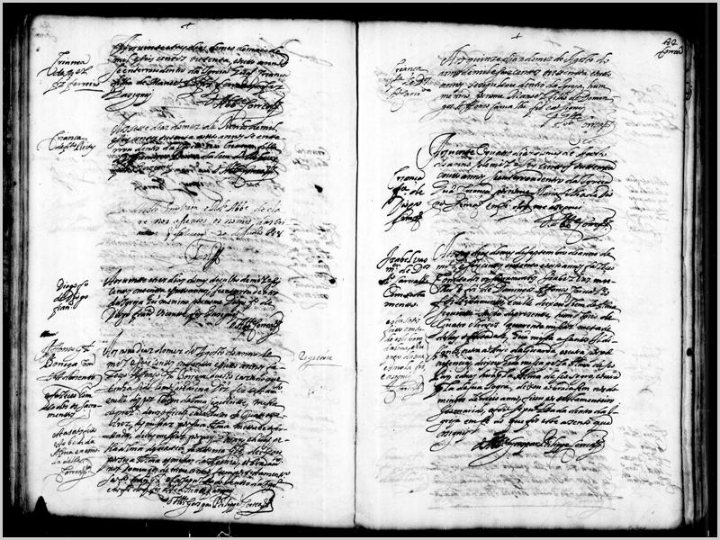 Página direita- À margem: Isabel Vaz, mulher de Domingos Afonso Carvalho, com testamento. Está satisfeito em tudo este Bem d'Alma e é pago da sua esmola, fiz e assinei.