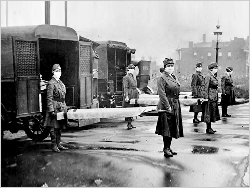 Ambulâncias de transporte de doentes durante a gripe espanhola (foto: Library of Congress)