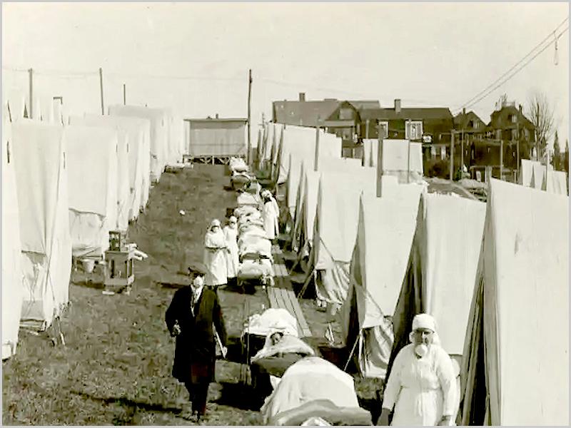 Enfermaria ao ar livre com doentes da gripe espanhola (foto. history.com)