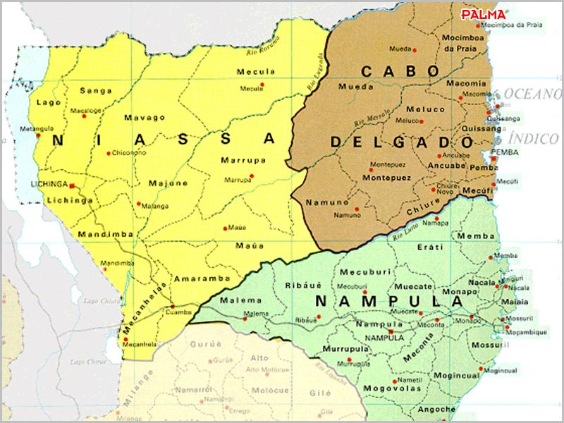 Mapa da província de Cabo Delgado no norte de Moçambique