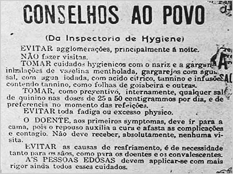 Conselhos da entidade de saúde durante a Gripe Espanhola