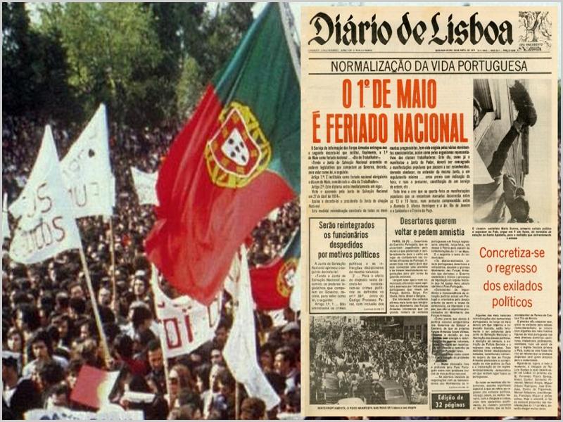 O 1.º de Maio na capa do jornal «Diário de Lisboa»