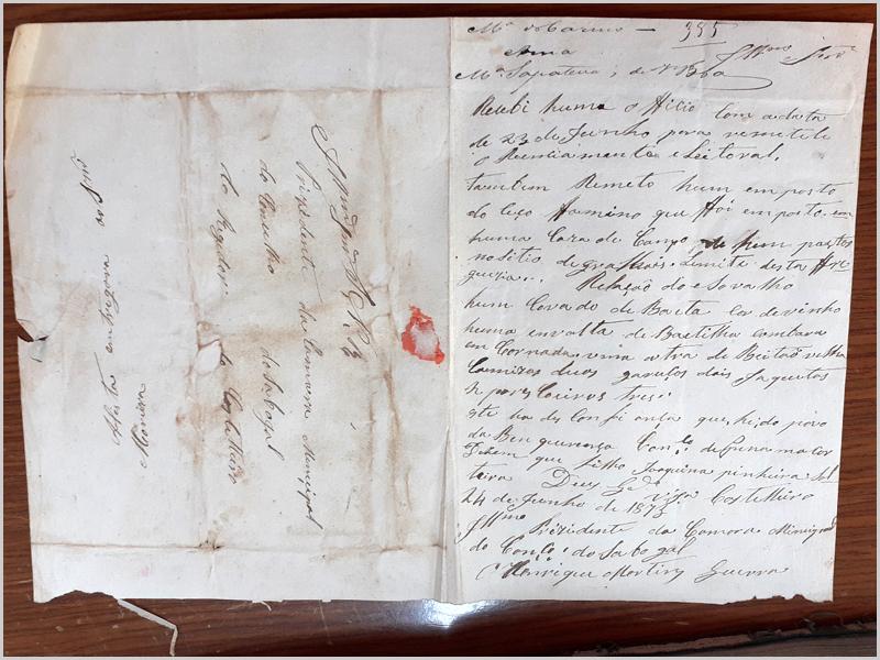 Carta do regedor do Casteleiro ao Presidente da Câmara do Sabugal (encontra-se junto da matrícula)
