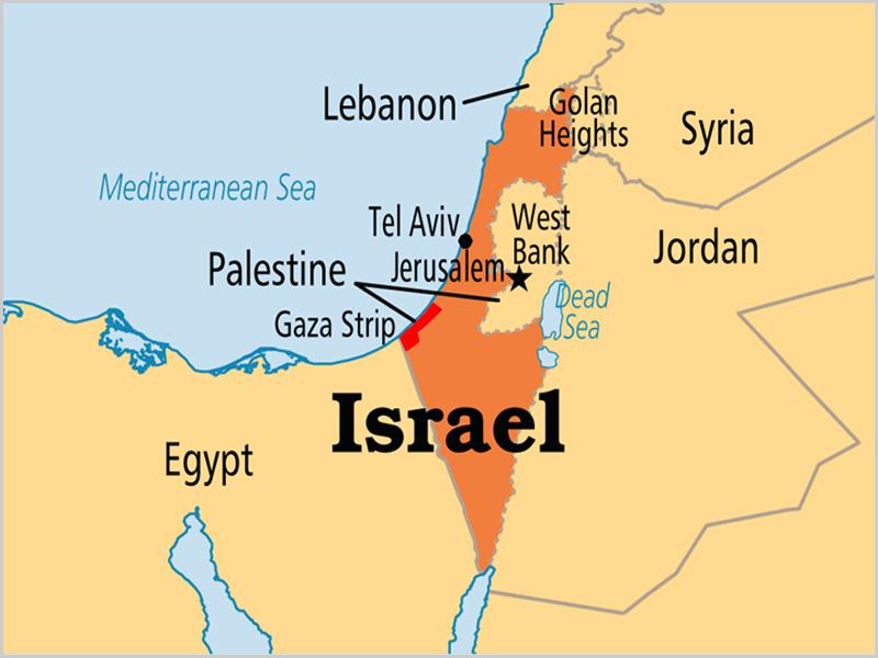 Mapa de Israel, da Palestina e da Faixa de Gaza