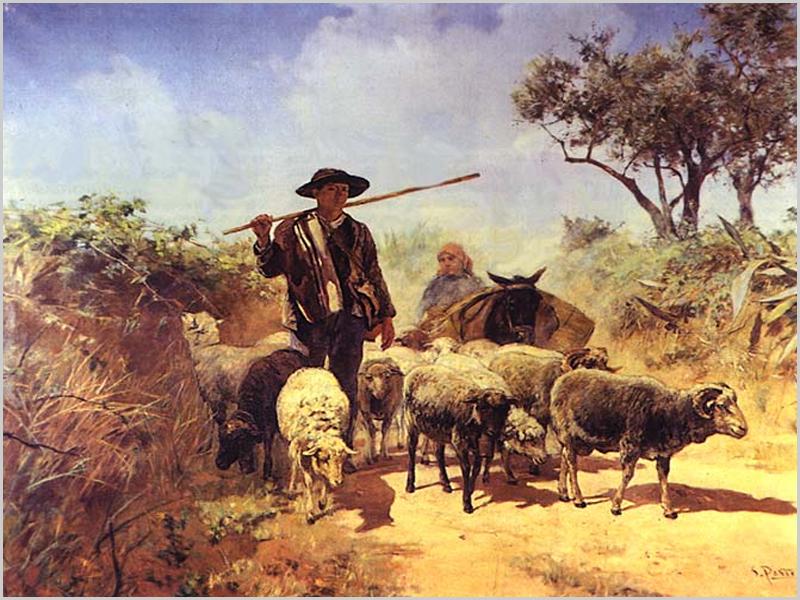 Pastor com rebanho de ovelhas; mais atrás um burro com alforges