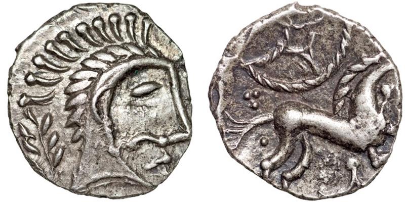 Moeda dos Iceni, na altura que ela foi «Rainha», representa um cavalo Lusitano